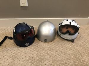 Snowboarding helmets and goggles