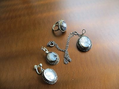 ANTIQUE Victorian Mother of Pearl Cameo Links 800 Silver Bracelet/Pendant set