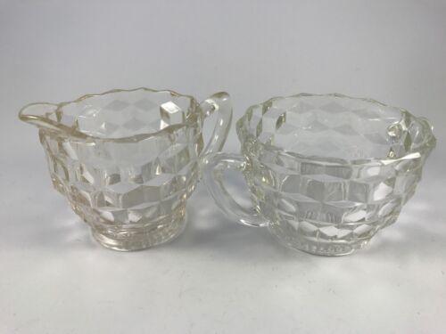 "Vintage JEANNETTE CLEAR GLASS ""CUBIST"" CUBE CREAMER & OPEN SUGAR"