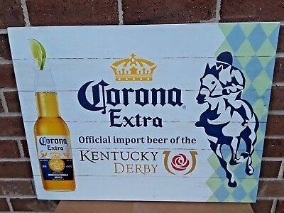 Corona Extra Kentucky Derby Horse Racing Barn Wood Look Wooden Beer Sign...B/New