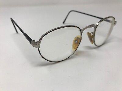 Vintage POLICE eyeglass Frame Black Silver Round ITALY FRAMES 46-20-145 Ev07
