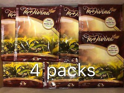 Te Divina The Original Detox Tea Formula 100% Organic 4 packs 4 weeks supply