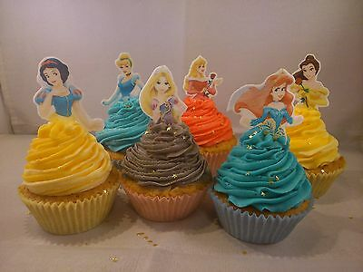 24 Disney Princess Edible Cupcake/Fairy Cake Toppers **Top Half Toppers**