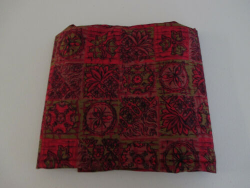 Vintage Cotton Fabric Crimson Olive Floral Medallion Print  2+ Yards