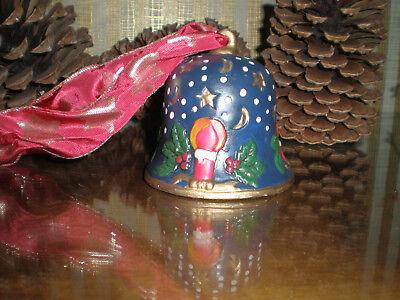 Weihnachtsglocke Keramik Weihnachtsdeko blau