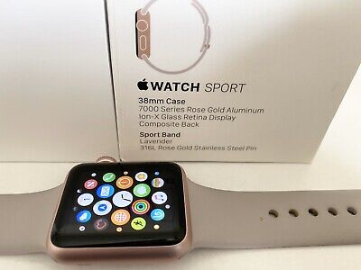 APPLE WATCH SERIES 1 - 38mm ROSE GOLD Aluminium & 3 Extra Straps BOXED FREE P&P