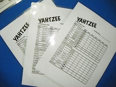 (3)  Laminated Yahtzee Lawn Dice Game reusable scorecard Yardzee