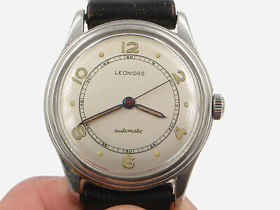 Leonidas Pre-Heuer / Military Automatic Wristwatch 35mm Case Leather Band