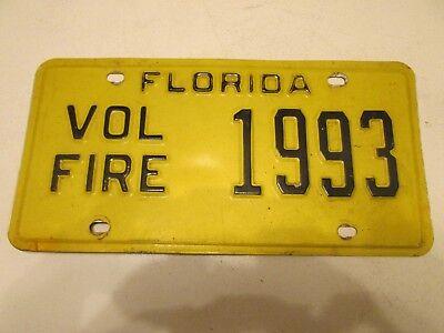 RARE! Vintage Volunteer Fire Dept Firefighter Yellow Florida Metal License Plate