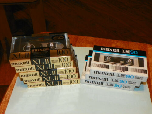 Lot of 8 Maxell New Blank Audio Cassette Tapes 5 - XLII 100 / 3 - LN 90 SEALED