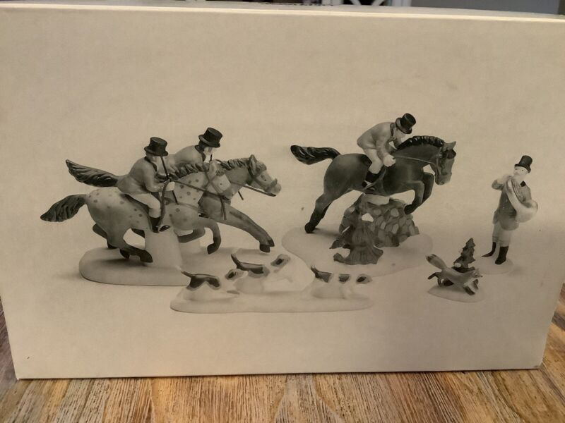 Department 56 Heritage Village Horses Fox Hunt Dogs New in Box 5 PC