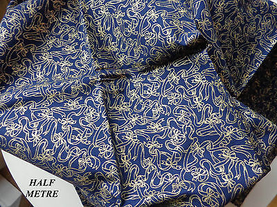 Navy Blue & Gold Fabric for Patchwork.  Half Metre Superfine Cotton