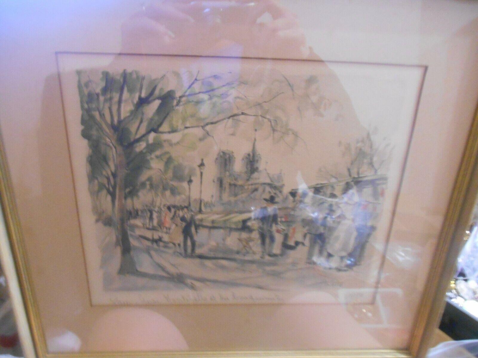 Vintage Franz Herbelot Paris Framed Watercolor Signed And Numbered 17 x15.25  - $20.00