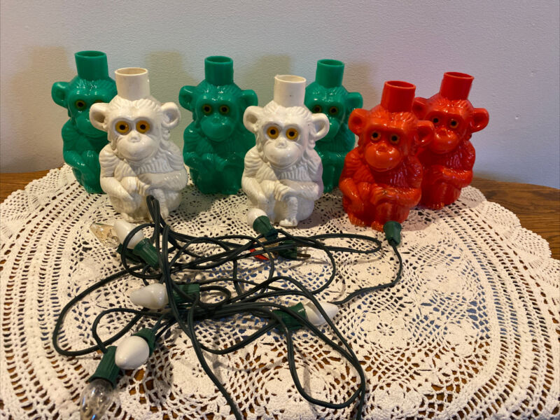 Vintage NOMA String of 7 Blow Mold MONKEYS Patio RV Camping Party Lights Set
