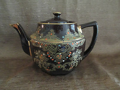 Vintage Brown Betty Style Tea Pot Made in England Moriage Enameled Design