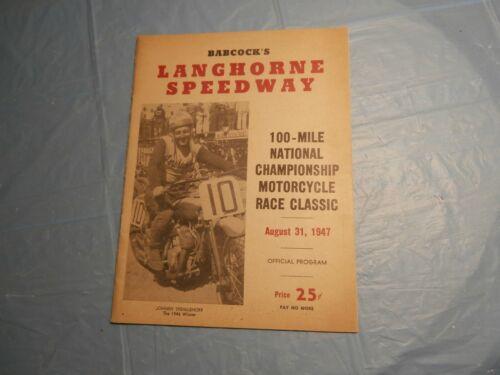 ORIGINAL 1947 LANGHORNE PA SPEEDWAY CHAMPIONSHIP AMA MOTORCYCLE RACE PROGRAM