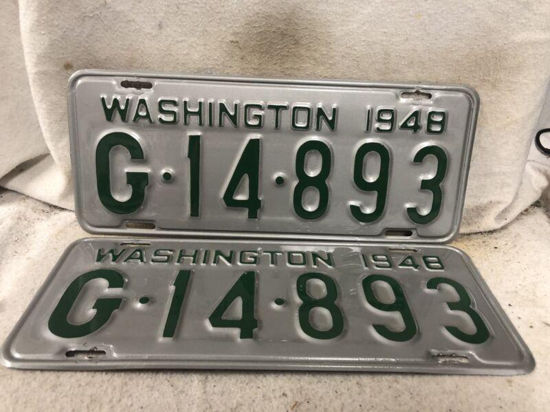 Vintage 1949 Washington License Plate Pair ALTERED REPAINTED RESTORED