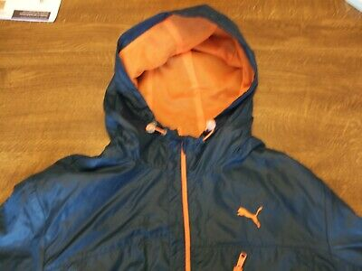 MENS UK LARGE PUMA sportLIFESTYLE mesh lined jacket.NAVY BLUE ORANGE TRIM.