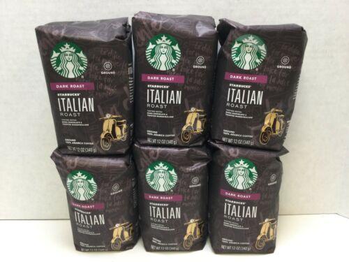 Starbucks Italian Roast Ground Coffee Dark Roast, 6 Bags, 12oz, JULY 2021