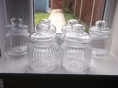 Lovely Set Of 6 Ribbed Glass Lidded Storage Jars/Wedding Jars/Sweet Jars for sale  Shipping to South Africa