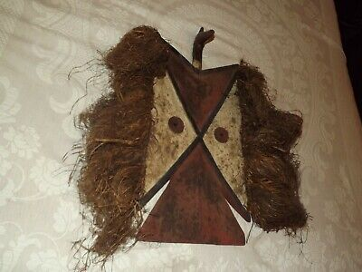 Native American Indian Ceremonial Mask w Grass Hair Carved Bird Head Totem 1890s