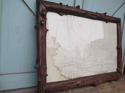 "FRAME log Adirondack FURNITURE rare LARGE 48""x35"" FOLK ART antique RUSTIC"