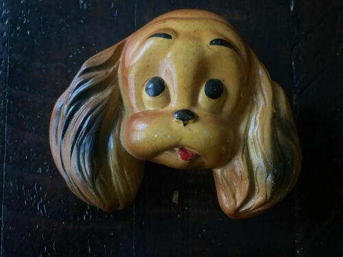 Vintage 1952 Miller Studios Chalkware Puppy Dog Face Wall Hanging brown