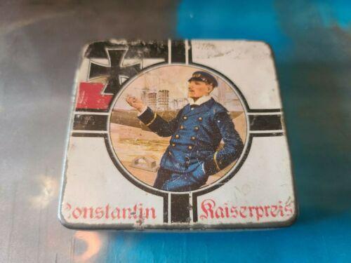 Antique German Constantin Kaisepreis Cigarette Tin With German Officer WW1 No 55