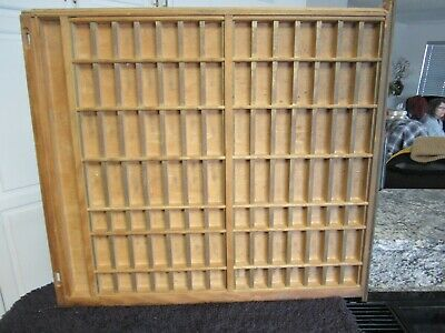 Vintage Printers Type Set Cabinet Wood Drawer Display Metal Front 29