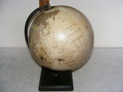 VINTAGE GOVERNMENT OF INDIA WORLD TERRESTRIAL GLOBE 12 INCH WOOD BASE 1980