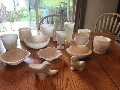 15 Piece White Milk Glass Collection