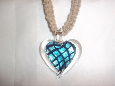 19 Inch HEMP Necklace with BLUE & BLACK Glass HEART Pendant GOTH Hobo H-156 Blue Glass Heart Necklace