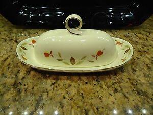 Hall Autumn Leaf Pattern Jewel Tea RINGS BUTTER Dish Tray ~ Quarter Pound ~ Mint