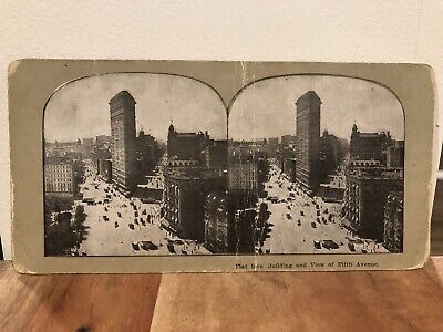 Stereoview Photo Card Flat Iron Building & View of Fifth Avenue New York City -