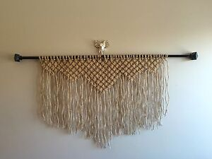 Macrame Window Panel Wall Hanging Decor Retro Mid Century