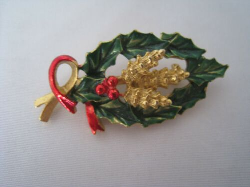 Enamel Vintage Holly Leaf Pinecone Christmas Lapel Pin Brooch