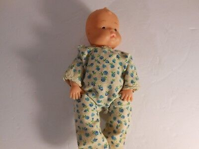 "Vintage 7"" Plastic/Rubber Doll Made in Hong Kong Jointed Arms & Legs"