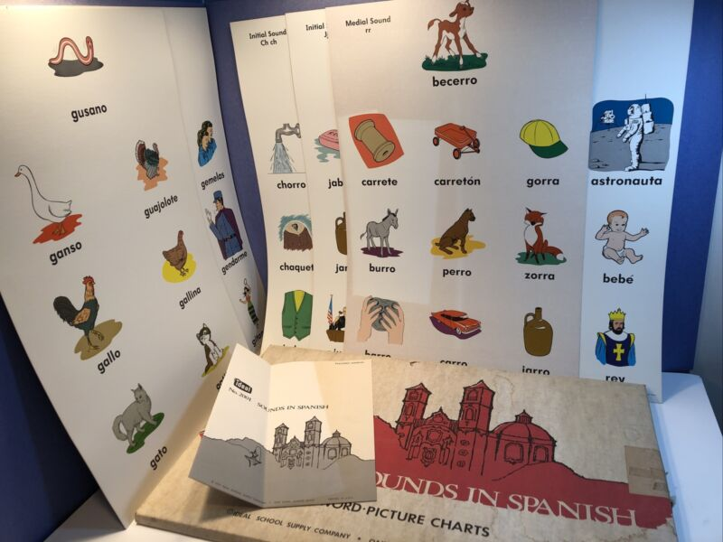 Vintage 1974 Ideal School Supply SOUNDS IN SPANISH Pictorial Poster Set Language