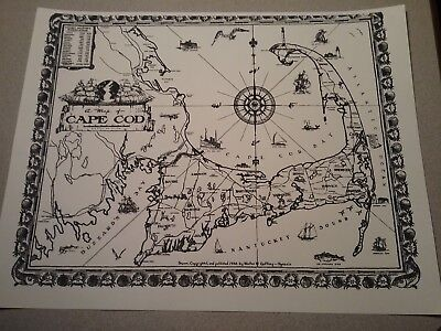 Cape Cod, Massachusetts Map print black n white 8.5 x 11 originally pub 1932