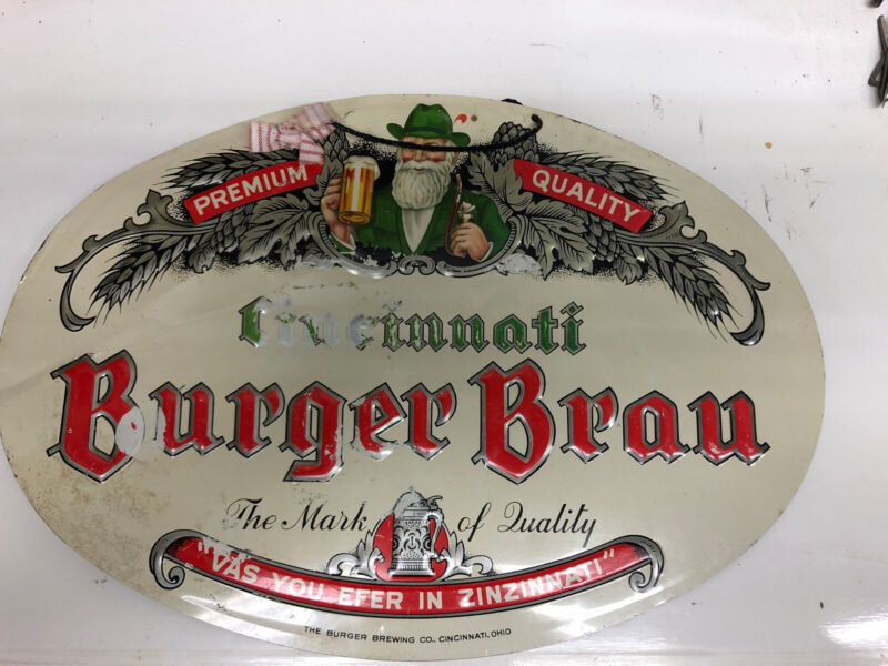 VINTAGE BURGER BRAU BEER - BURGER BREWING CO METAL SIGN CINCINNATI OH OHIO