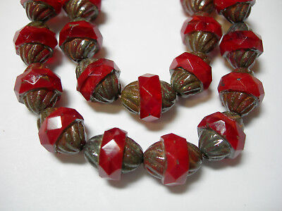 10 Mm Faceted Glass - 15 12x10mm Czech Glass Faceted Red Opal Picasso Turbine Beads