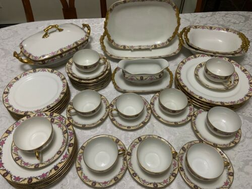 J POUYAT Limoges DINNERWARE SET 1920 Pink Rose Yellow Lattice 50pc Antique Deco