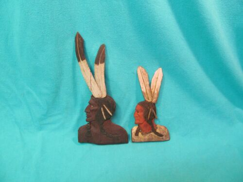 """TWO 1930 CARVED & PAINTED WOOD NATIVE AMERICAN BUST WALL PLAQUES 11"""" & 7 3/4"""""""