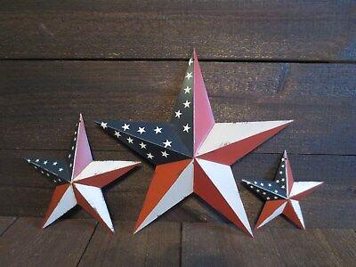 "Set of 3 Red White & Blue Flag Barn Star Patriotic Americana Primitive 12"" 8"" 5"""