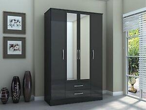 Birlea Lynx 4 Door Wardrobe with 2 Drawers & Mirrors - Black Gloss