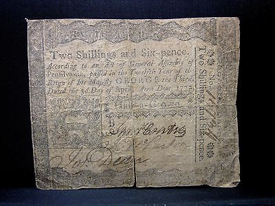COLONIAL CURRENCY ✪ PENNSYLVANIA APRIL 3RD 1773 ✪ FR PA-157 2S6D 1/2C ◢TRUSTED◣