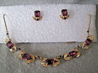 VINTAGE MID CENTURY VAN DELL GOLD & AMETHYST GLASS NECKLACE & EARRINGS EUC