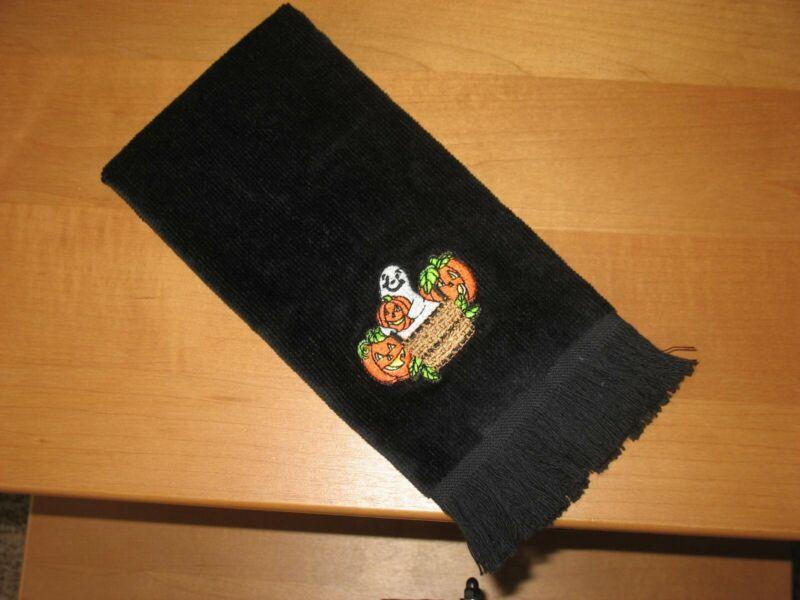 Longaberger Black Halloween Fingertip Towel Basket, Pumpkins, Ghost - EUC