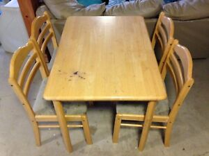 Maple wood table and 4 chairs