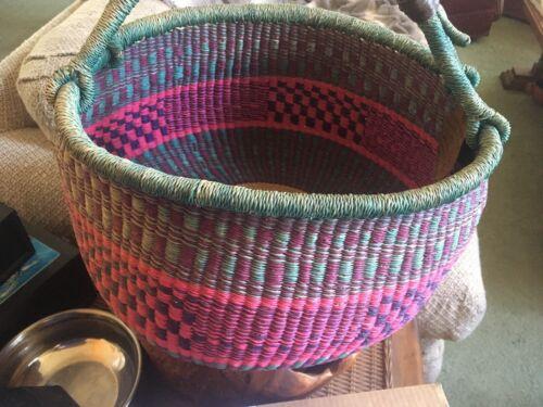 Alaffia Authentic Handwoven African Market Basket Ghana SUMBRUNGU Village